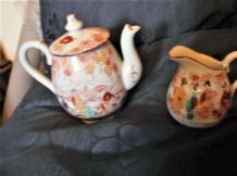 ORIENTAL SMALL GILDED TEAPOT & LID PLUS MILK JUG GEISHA HANDPAINTED DESIGNS